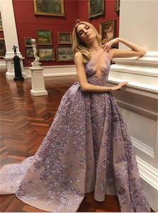 A Line Purple Sleeveless Prom Dresses
