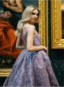 V Neck Organza Purple Prom Dresses