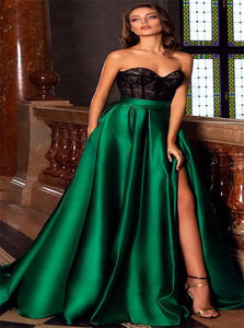 Lace Satin Sweetheart A Line Prom Dresses With Pockets