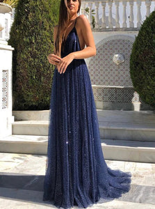 Blue Spaghetti Straps V Neck Backless Prom Dresses
