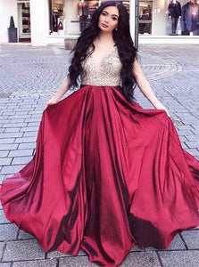 Sexy V Neck Burgundy Beadings Satin Sweep Train Prom Dresses