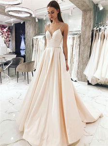 Backless Sweep Train Champagne A Line Prom Dresses
