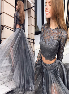 Black Two Pieces Long Sleeves Tulle Prom Dresses