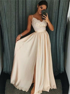 A Line Satin Beadings V Neck Prom Dresses with Slit