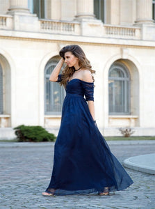 A Line Off the Shoulder Chiffon Half Sleeves Navy Blue Prom Dresses