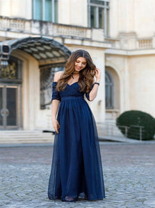 A Line Off the Shoulder Chiffon Half Sleeves Navy Blue Floor Length Prom Dresses