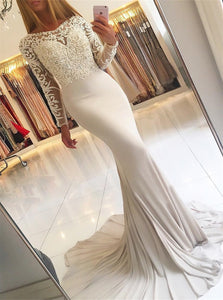 Mermaid Scoop Sweep Train White Prom Dresses Spandex With Appliques