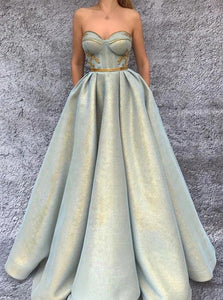 A Line Sweetheart Green Satin Prom Dresses with Pleats