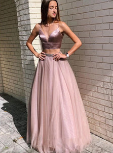 Spaghetti Straps Two Piece Prom Dresses With Beadings