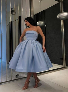 Strapless Blue Sleeveless Ball Gown Satin Pleats Prom Dresses