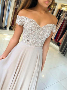 Champagne Chiffon Appliques Off the Shoulder Prom Dresses
