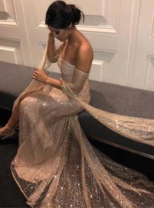 Gold Sequined Off the Shoulder Long Sleeves Sheath Prom Dresses