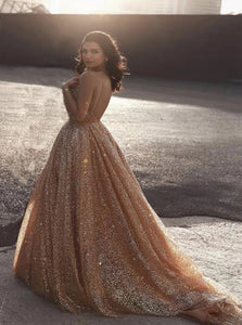 A Line Sequin V Neck Sequins Golden Tulle Prom Dresses