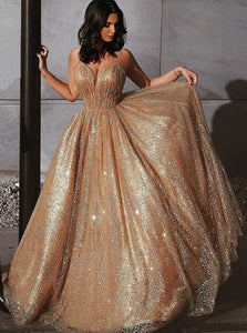 A Line Sequin V Neck Sequins Prom Dresses
