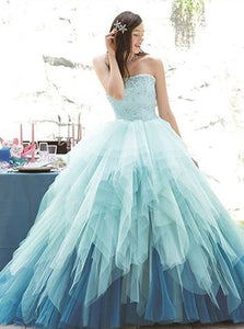 Ball Gown Tulle Ruffles Open Back Prom Dresses