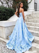 Sweetheart Sky Blue Prom Dresses with 3D Floral Appliques
