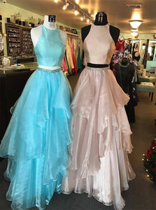 A Line High Neck Beadings Organza Sleeveless Prom Dresses with Ruffles