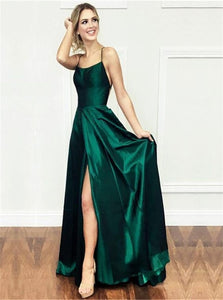 A Line Green Satin Open Back Prom Dresses with Slit