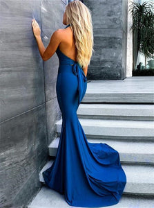 Mermaid V Neck Satin Prom Dresses