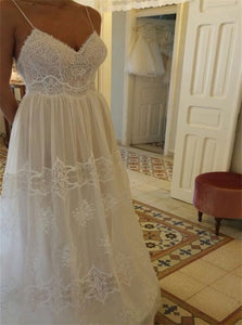 A Line V Neck Lace Tulle A Line Floor Length Prom Dresses
