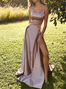 Pink Spaghetti Straps Floor Length Prom Dresses with Slit
