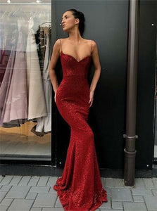 Mermaid Burgundy Sleeveless Prom Dresses with Sweep Train