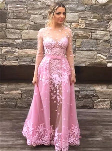 A Line Scoop Long Sleeves Tulle Prom Dresses