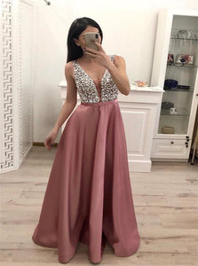 A Line V Neck Floor Length Blush Pink Satin Prom Dresses with Beadings