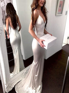 Mermaid Spaghetti Straps Backless Satin Prom Dresses with Sweep Train