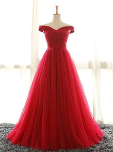 A Line Floor Length Red Prom Dresses with Pleats