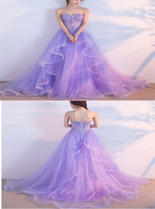 A Line Sweetheart Tulle Lace Up Ruffles Prom Dresses