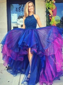 A Line Scoop Tulle Blue and Purple Prom Dresses with Ruffles
