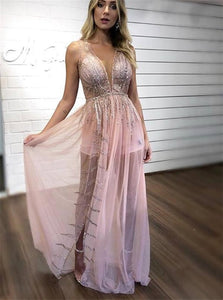 Pink Chiffon Silver Sequins Floor Length Prom Dresses