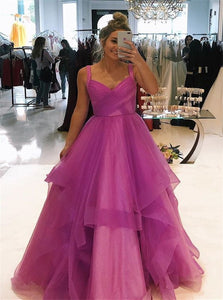 A Line Tulle Ruffles Floor Length Prom Dresses