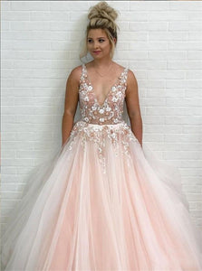 A Line Blush Pink Tulle Applique V Neck Sleeveless Prom Dresses