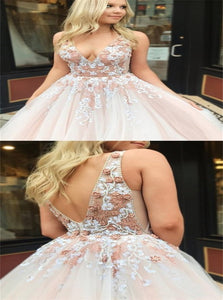 Blush Pink Tulle Applique Sweep Train Open Back Prom Dresses