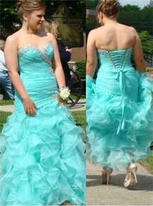 Lace Up Floor Length Beadings Prom Dresses