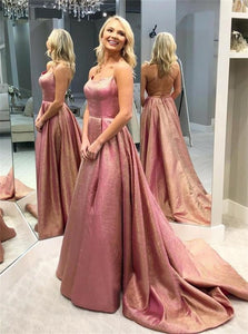 Sleeveless Ball Gown Prom Dresses with Sweep Train
