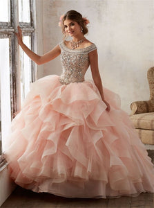 Bright Blush Pink Tulle Ball Gowns Tulle Scoop Prom Dresses with Beadings