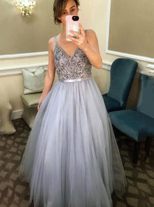 A Line Straps V Neck Tulle Silver Prom Dresses with Beadings
