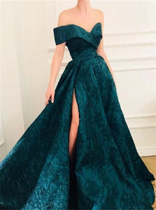 A Line Off the Shoulder Green Satin Prom Dresses with Sweep Train