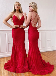 V Neck Red Mermaid Lace Prom Dresses