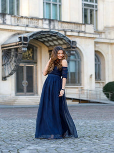 A Line Off the Shoulder Tulle Blue Sleeveless Prom Dresses with Pleats