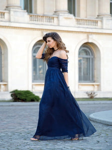 A Line Off the Shoulder Tulle Blue Floor Length Prom Dresses with Pleats