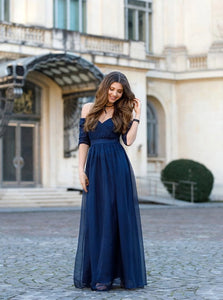 A Line Off the Shoulder Tulle Blue Prom Dresses with Pleats