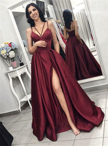 Spaghetti Straps Burgundy Sweep Train Prom Dresses with Split