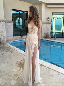 A Line Chiffon Lace Ivory Prom Dresses with Slit