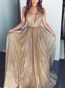 A Line V Neck Sequins Golden Sleeveless Prom Dresses