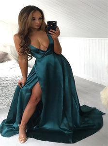 Teal Satin Sleeveless Prom Dresses with Sweep Train