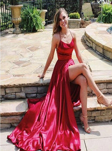 A Line High Slit Lace Up Red Satin Sleeveless Prom Dresses